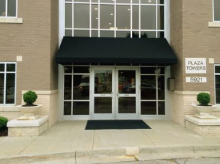 black canopy covering entryway to commercial building in Raleigh, NC