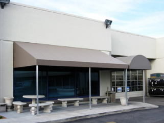 commercial awnings covering eating area for Raleigh restaurant