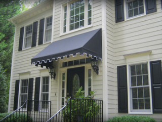 residential awning over door on house in Raleigh