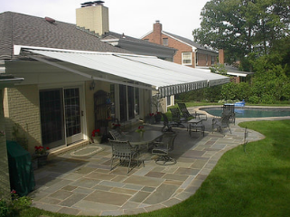 retractable awning covering patio in Raleigh
